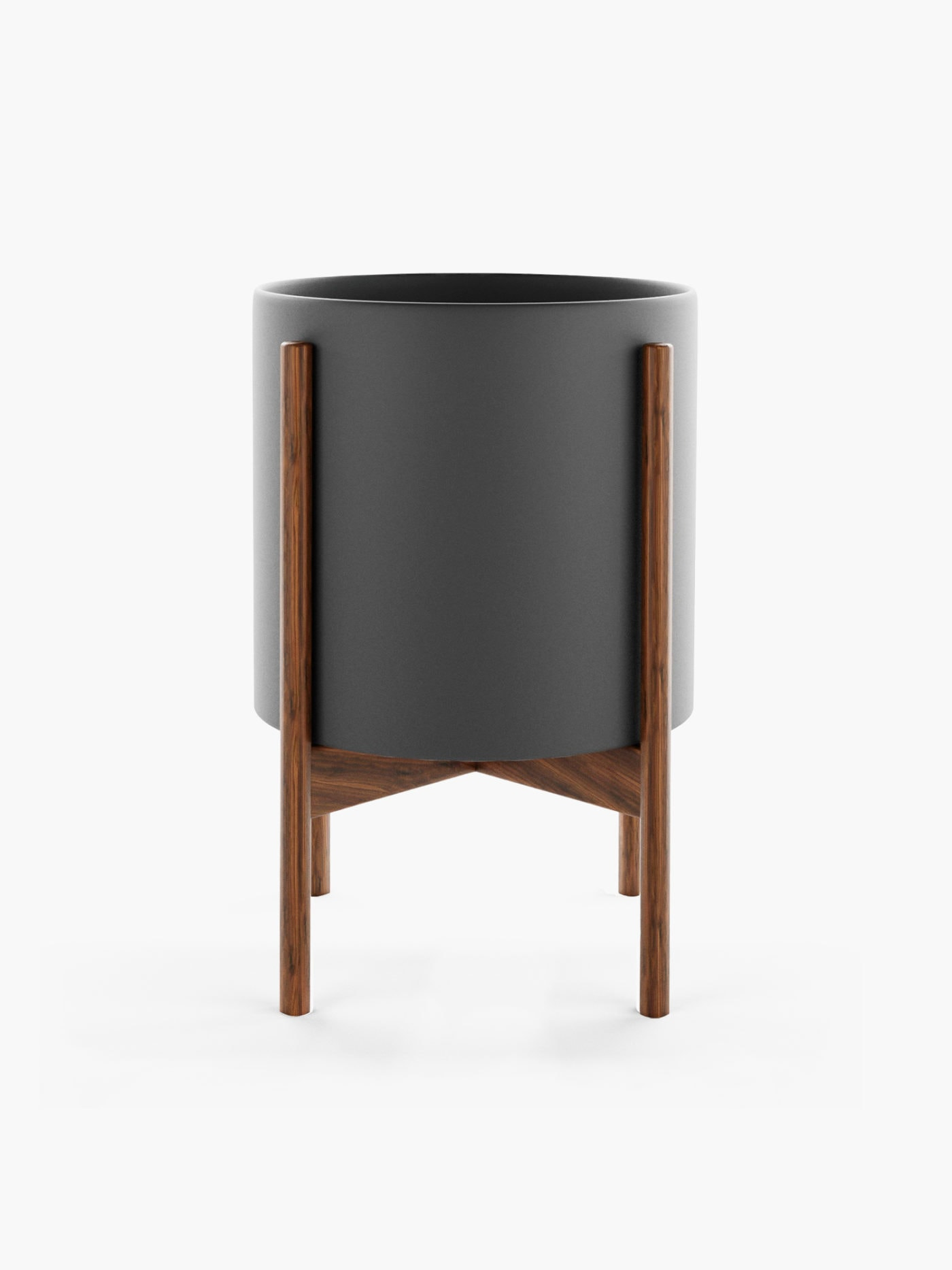 black plant stand pot grey