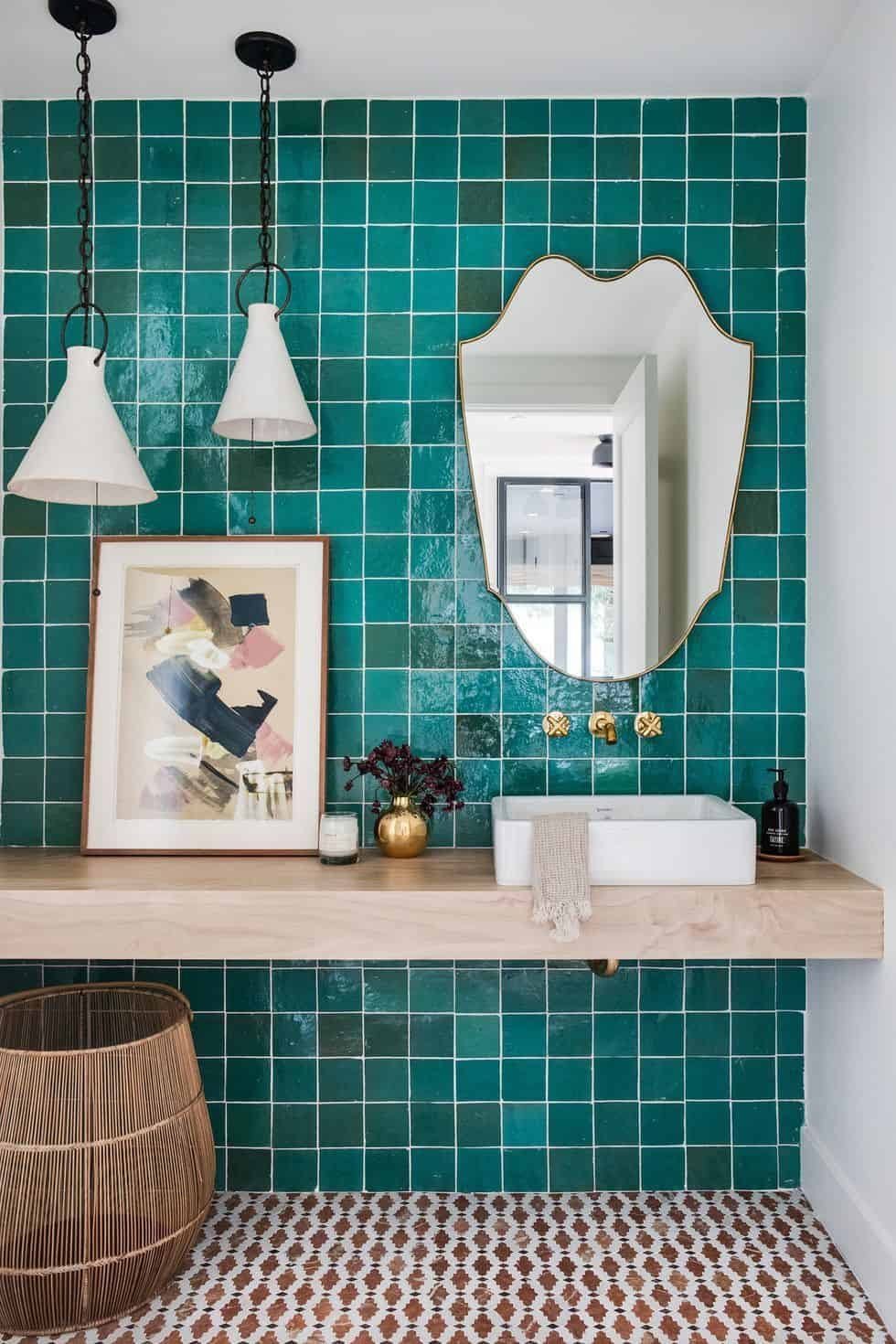 Create Dazzling Bathroom Accent Wall With These 11 Examples